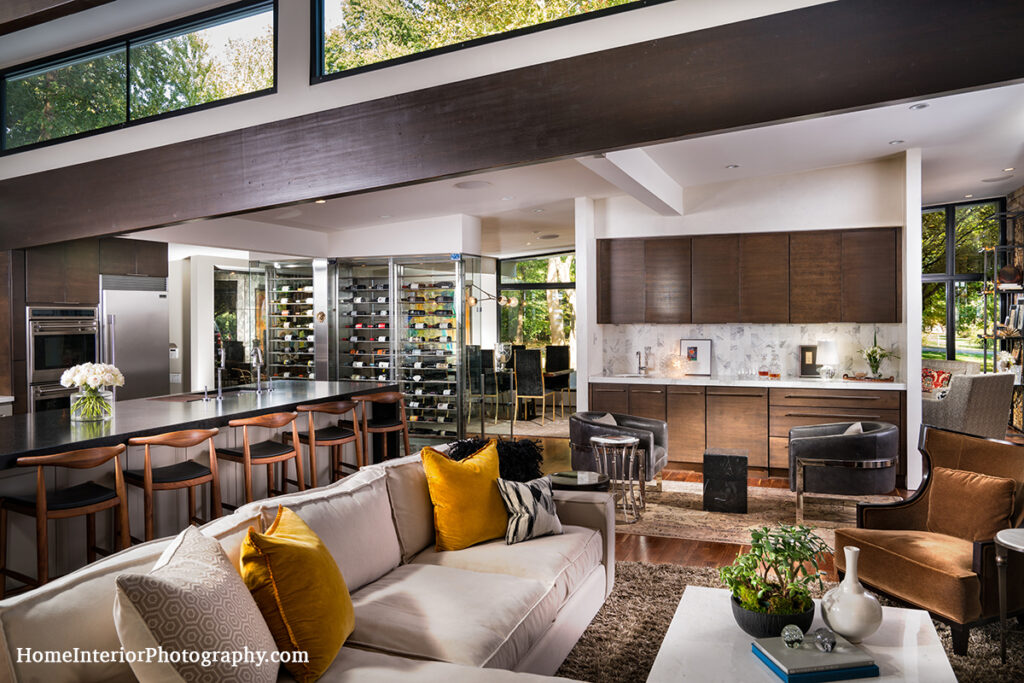 Modern Living Room with Wine Cellar View - Nathan Taylor - design interior photography