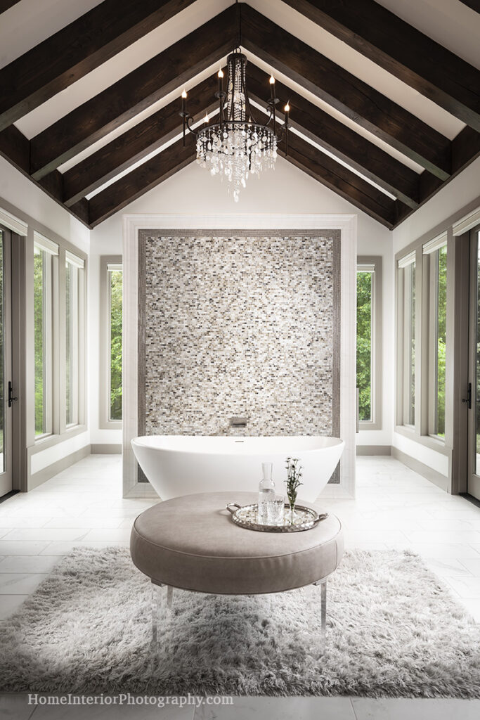 Award Winning Minimalist White Tile Bathroom - Denise K Wright - design interior photography