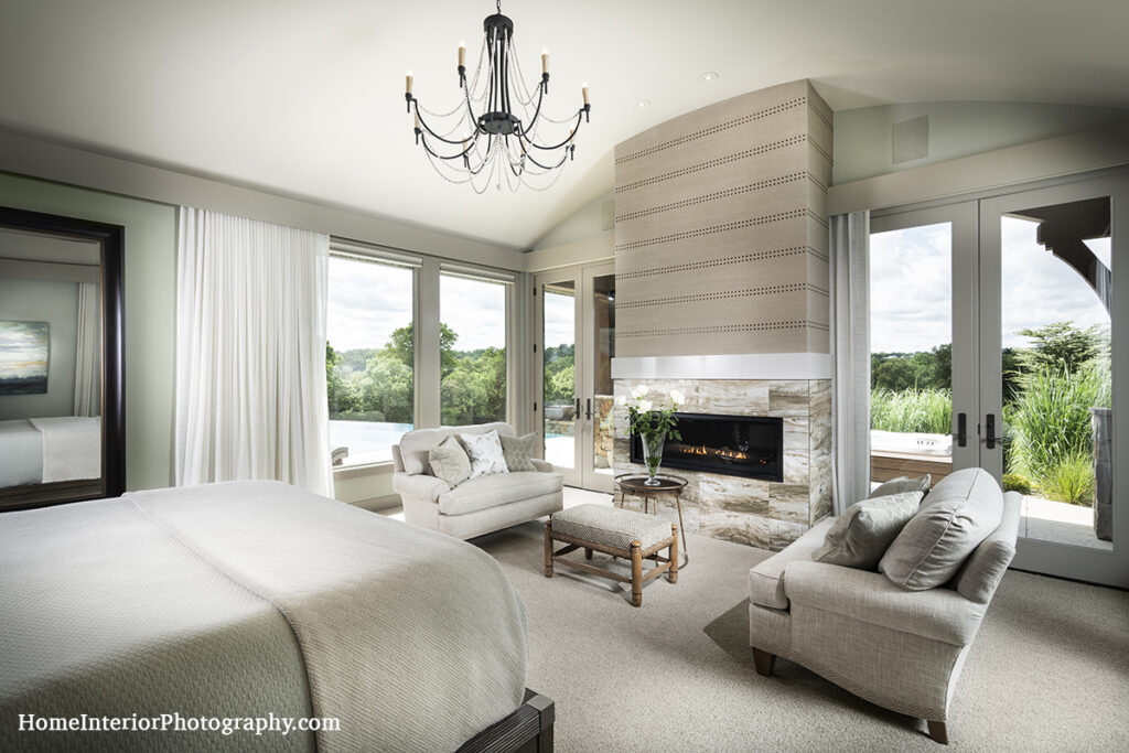 Clean Gray Bedroom with Sweeping View - Denise K Wright - design interior photography