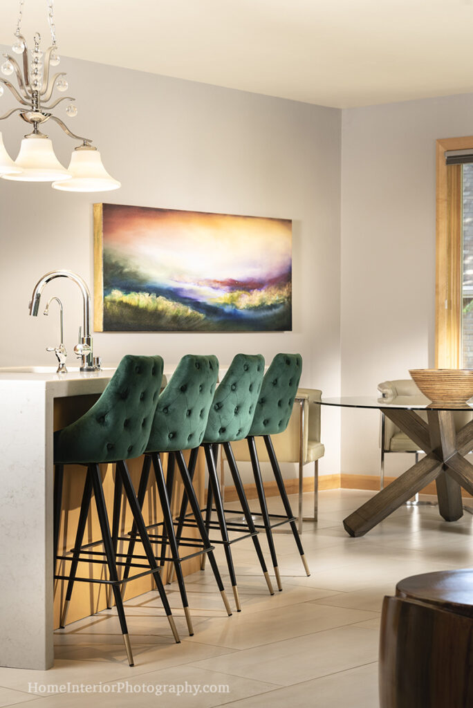 Green Chairs and Dining Room Bar - Denise K Wright - design interior photography