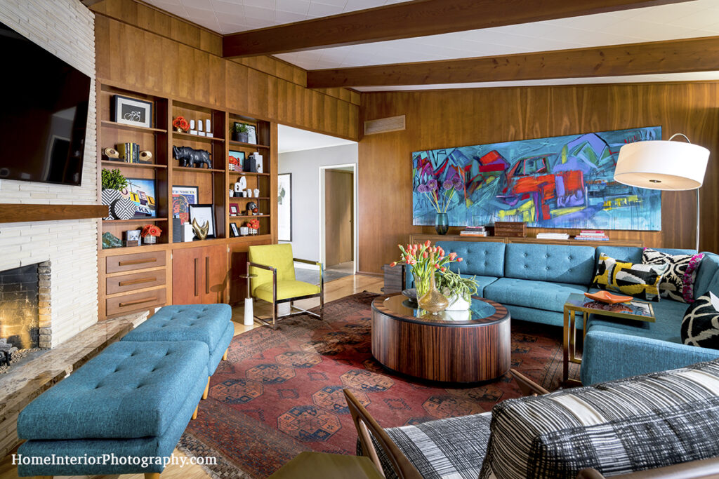 Mid Century Modern Living Room with Wood Panel and Teal Furnishings - Nathan Taylor - design interior photography