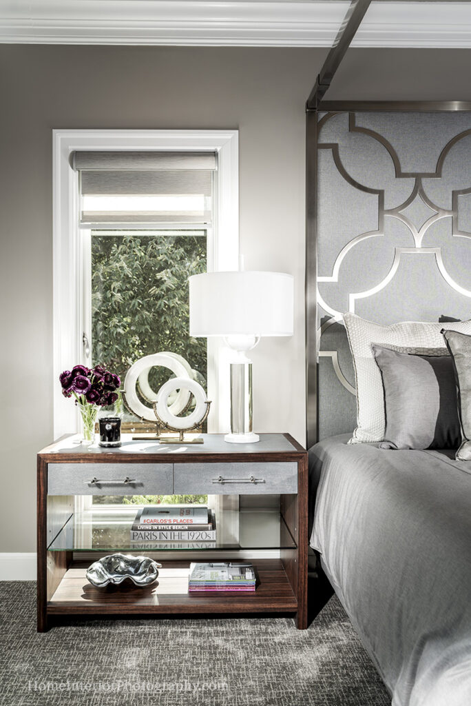 Gray and Silver Bedroom with Wood Accent - Nathan Taylor - design interior photography