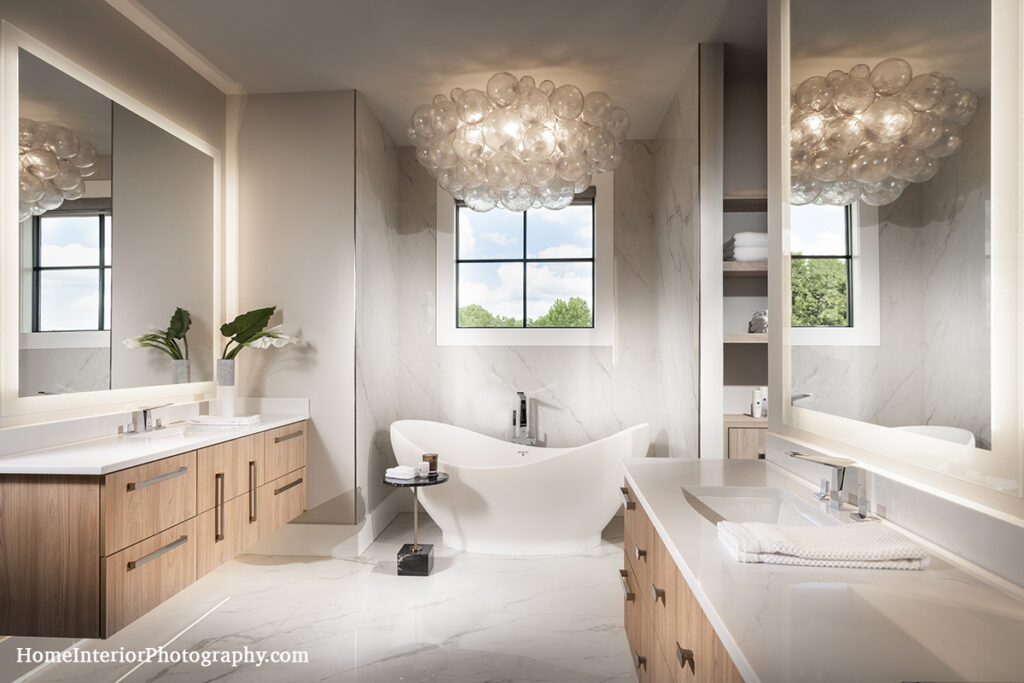 Stone Bathroom with Basin Tub and Bubble Chandelier - Nathan Taylor - design interior photography