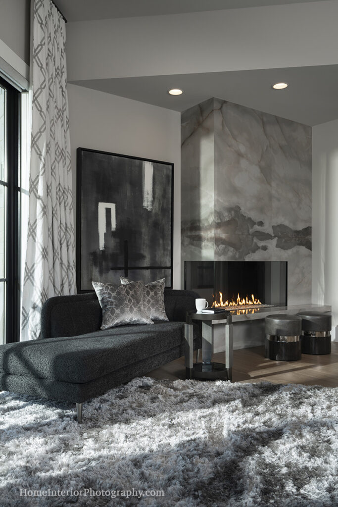 Modern Gray Tile Bedroom Fireplace - Nathan Taylor - design interior photography