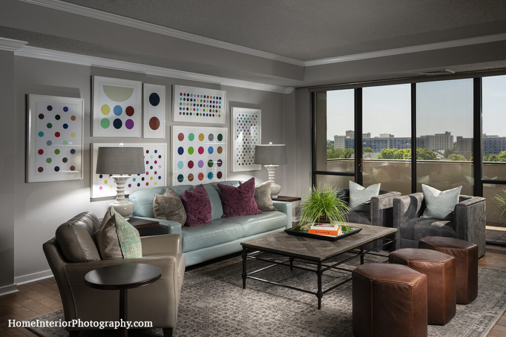 High Rise Living Room with Polkadot Art and View - Nathan Taylor - design interior photography