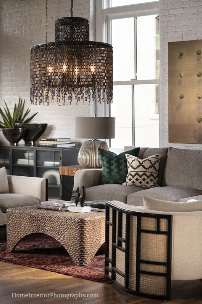 Chain Lamp and Chiseled Wood Coffee Table - Colby Kern, Obelisk Home - design interior photography