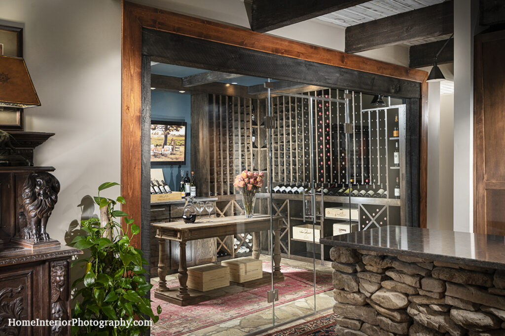 Home Wine Cellar with Glass Wall - Nathan Taylor - design interior photography