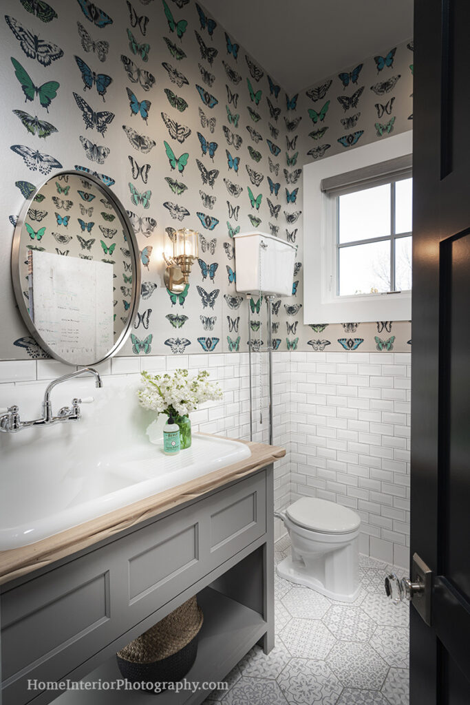 Modern Farm Home Bathroom with Butterfly Wallpaper - Nathan Taylor - design interior photography