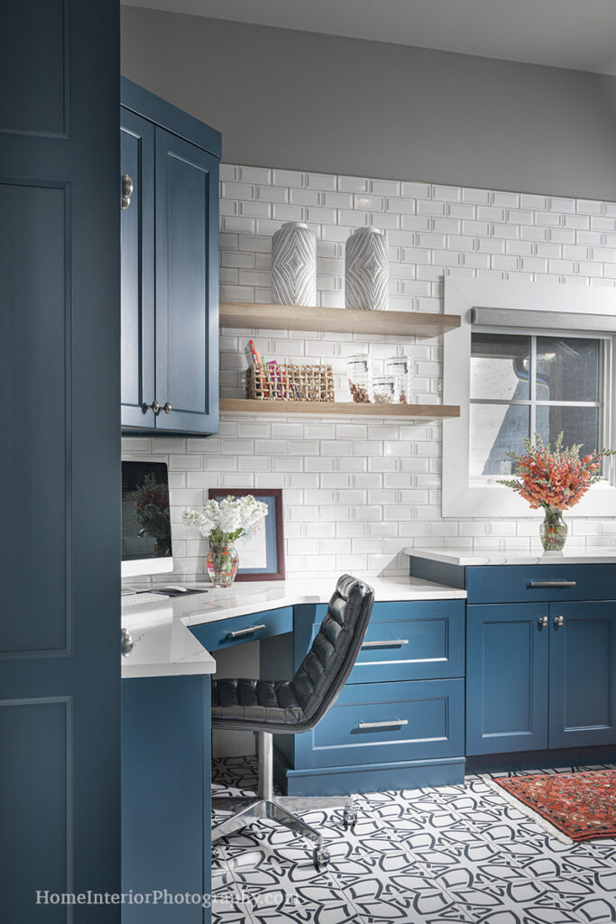 White Tile and Blue Cabinet Home Office - Nathan Taylor - design interior photography