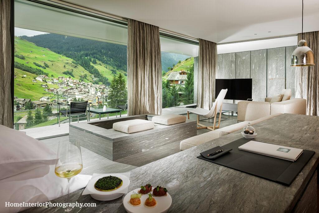 Kengo Kuma Suite at 7132 Hotel in Vals Switzerland - design interior photography