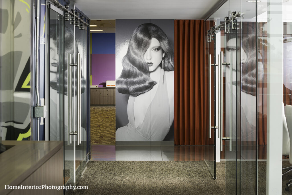 Glass and Steel Office Hallway - design interior photography
