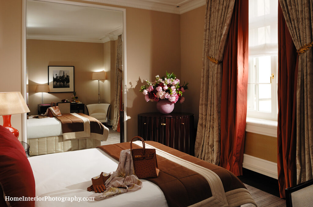 Baur au Lac Luxury Hotel Room with Flowers - design interior photography