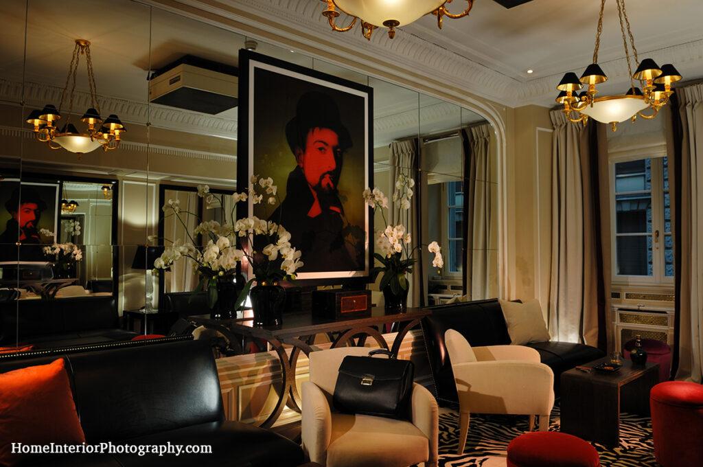 Warm Modern Lounge Room at Hotel Baur au Lac - design interior photography