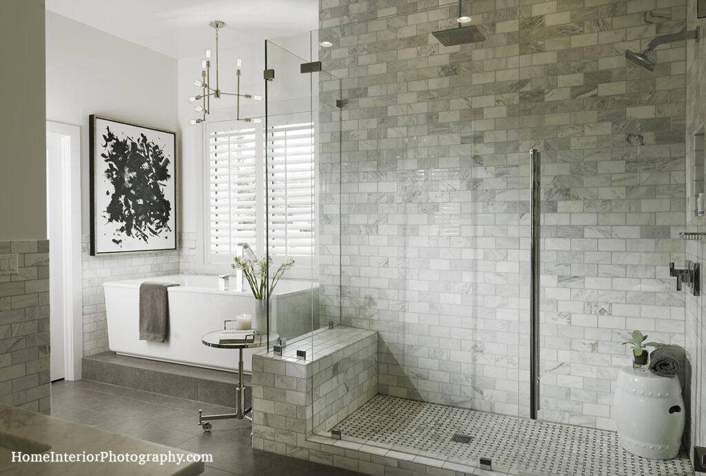 White Tile and Glass Bathroom - Nathan Taylor - design interior photography