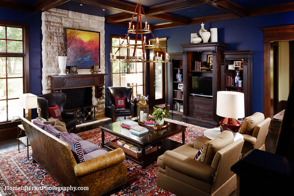Dark Blue and Wood Living Room - Nathan Taylor - design interior photography
