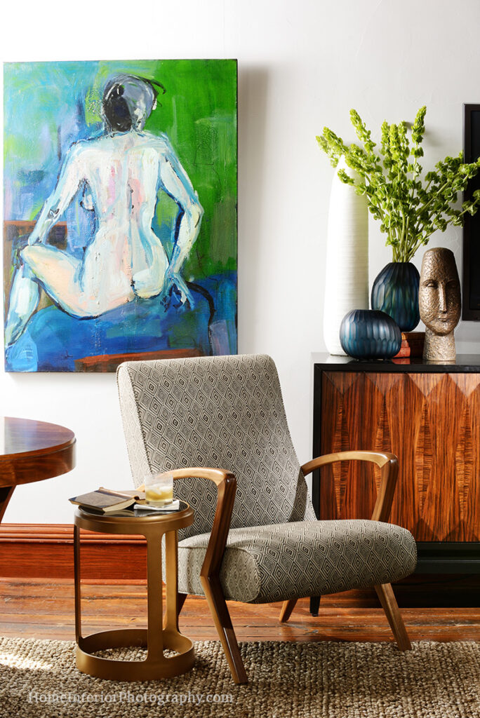 Contemporary Art with Wood Furniture Loft Sitting Area - Nathan Taylor - design interior photography